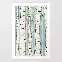 birch Art Prints featuring Birch by Marlene Pixley