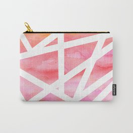 Modern handdrawn stripes geometric pink watercolor Carry-All Pouch