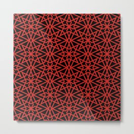 Red Portuguese Flower Tile Pattern Metal Print