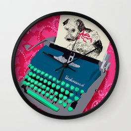 Dog on underwood Wall Clock
