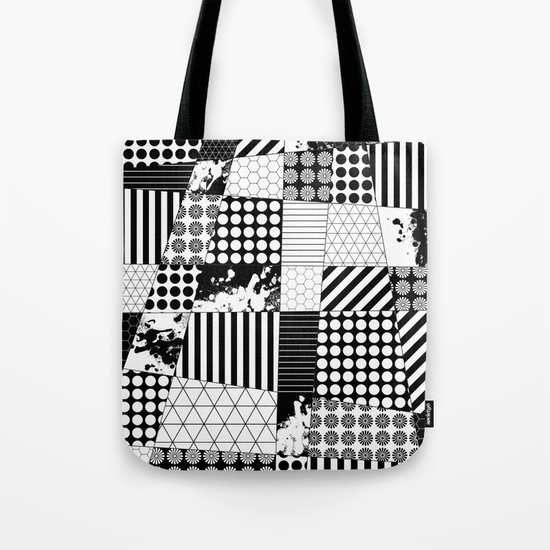 Mosaic Contrast - Black and white, geometric design Tote Bag
