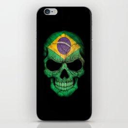 Dark Skull with Flag of Brazil iPhone Skin