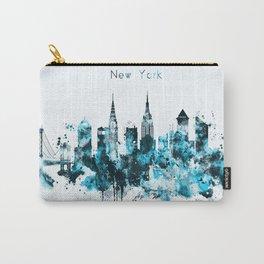New York Monochrome Blue Skyline Carry-All Pouch