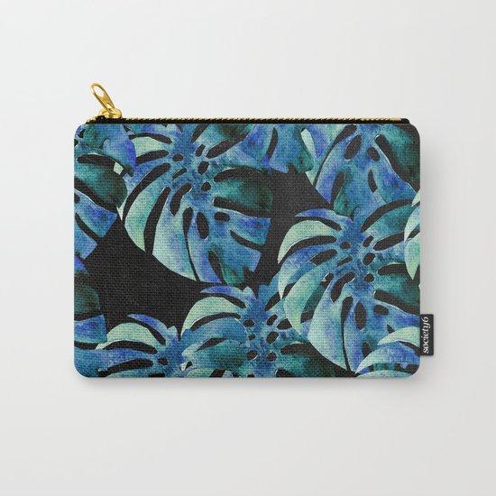 Monstera Pattern Blue On Chalkboard Carry-All Pouch