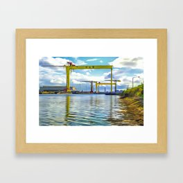 The Cranes of Belfast, Ireland. (Painting) Framed Art Print