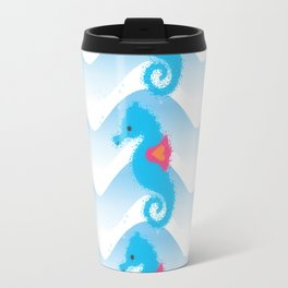 Seahorses And Blue Waves Pattern Travel Mug