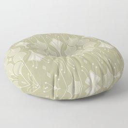 Art Deco Botanical Flower Shapes - Summer Green Floor Pillow