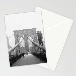 1920's Brooklyn Bridge, Brooklyn, New York black and white art photography - photographs Stationery Cards
