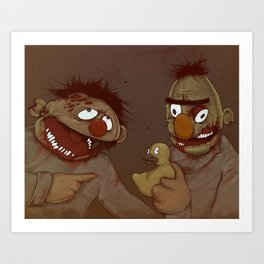 Bert and Ernie Zombies Art Print