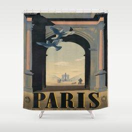 Vintage poster - Paris Shower Curtain