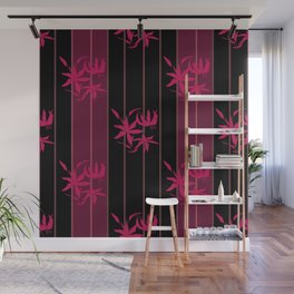 Striped floral maroon and black pattern with lillies Wall Mural