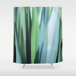 blue and green leaves Shower Curtain