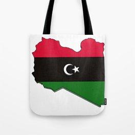 Libya Map with Libyan Flag Tote Bag