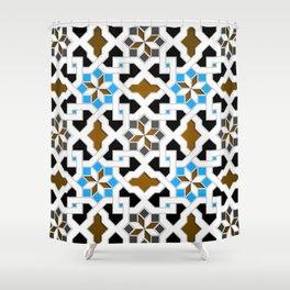 Oriental Pattern - Geometric Design, blue / brown Shower Curtain
