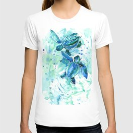 Turquoise Blue Sea Turtles in Ocean T-shirt