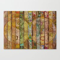 world maps Canvas Prints featuring Around the World in Thirteen Maps by Diego Tirigall