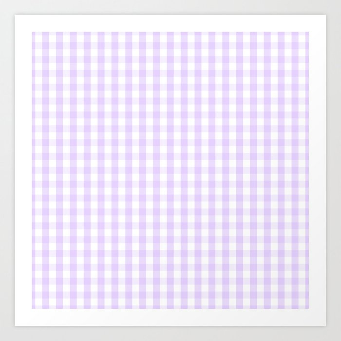 Chalky Pale Lilac Pastel and White Gingham Check Plaid Kunstdrucke