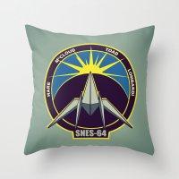 starfox Throw Pillows featuring The Lylat Space Academy by John Medbury (LAZY J Studios)