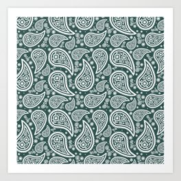 Paisley (White & Dark Green Pattern) Art Print