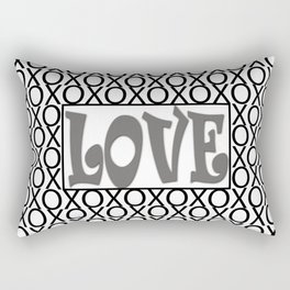 Pantone Pewter LOVE XOs (Hugs and Kisses) Typography Art Rectangular Pillow