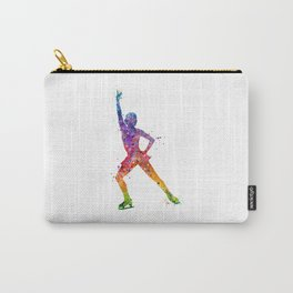 Ice Skating Girl 2 Colorful Watercolor Art Carry-All Pouch