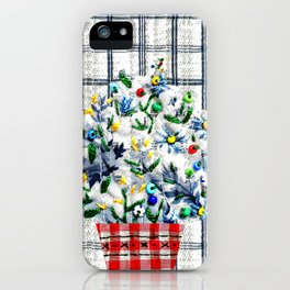Small flowers in blue iPhone Case