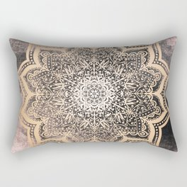 GOLD EARTH FLOWER MANDALA Rectangular Pillow