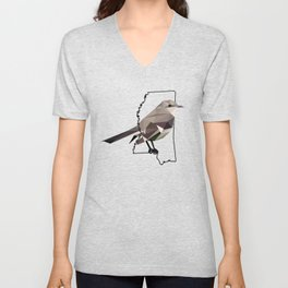 Mississippi – Northern Mockingbird Unisex V-Neck