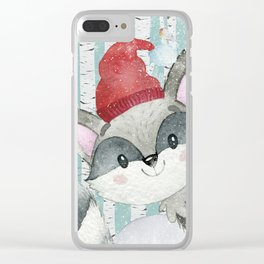 Winter Woodland Friends Cute Racoon Snowy Forest Illustration Clear iPhone Case