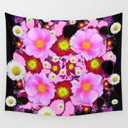 Black Design & Pink Roses Shasta Daisies Art Abstract Wall Tapestry