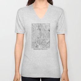 Washington D.C. White Map Unisex V-Neck
