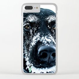 Snow Dog // Cross Country Skiing Black and White Animal Photography Winter Puppy Ice Fur Clear iPhone Case