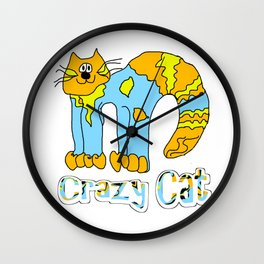 Crazy Cat Orange Wall Clock