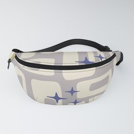 Retro Mid Century Modern Abstract Pattern 813 Gray and Blue Fanny Pack