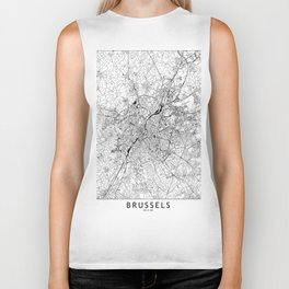 Brussels White Map Biker Tank