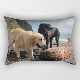 Two dogs playing Rectangular Pillow