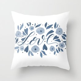 Love and flowers - grey Throw Pillow