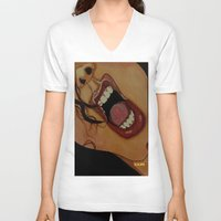 scream V-neck T-shirts featuring Scream by KNIfe