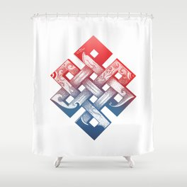 Colored Buddhist knot of eternity Shower Curtain