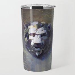 Lion head Black Marble Travel Mug