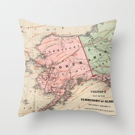 Vintage Map of Alaska and Russia (1869) Throw Pillow