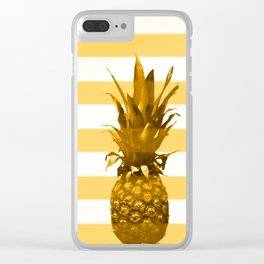 Pineapple with yellow stripes - summer feeling Clear iPhone Case