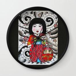 Ichimatsu ningyo, maneki neko and daruma doll  Wall Clock