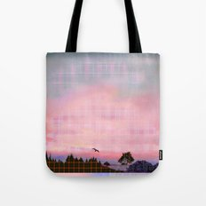 Plaid Landscape Tranquil Sunset Tote Bag