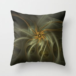 Golden spiral flowers fractal picture on the dark background Throw Pillow