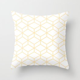 Geometric Honeycomb Lattice in Light Buttercream and White Throw Pillow