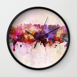 Curitiba skyline in watercolor background Wall Clock