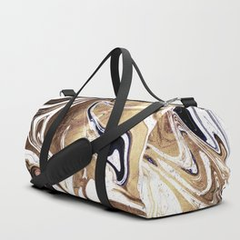 Metallic Gold Purple White Marble Swirl Duffle Bag