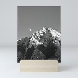 Moon Over Pioneer Peak B&W Mini Art Print