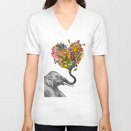 Happy Elephant  Unisex V-Neck